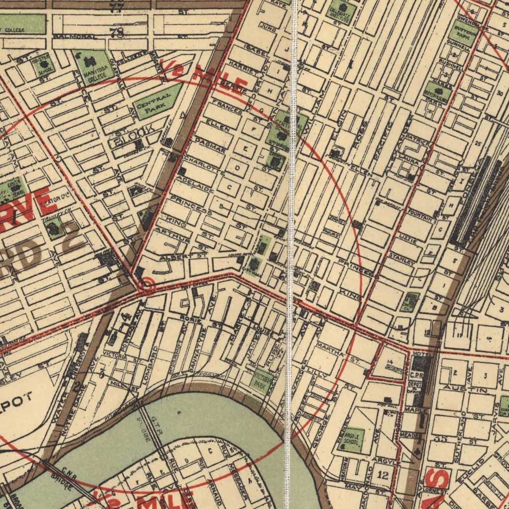 A map showing a portion of downtown Winnipeg in 1910. Source: University of Manitoba Archives & Special Collections.