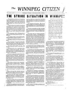First issue of the Winnipeg Citizen, May 19, 1919. UML.