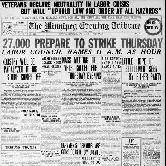 Front page of the Winnipeg Tribune on May 14, 1919. The headline reads: 27,000 prepare to strike Thursday. Source: University of Manitoba Libraries.