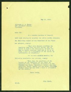 Letter to Alderman Heaps about the formation of the Special Committee on strike settlement. COWA. Council Communications (file 11507)