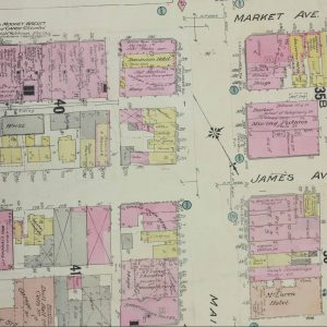 A map showing Hell's Alley between James and Market Avenues, to the left of Main Street. COWA. Charles E. Goad Co. Collection.