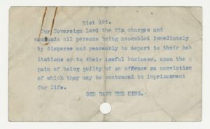 Riot Act owned by Mayor Gray, possibly used during Bloody Saturday. Charles F. Gray Family fonds (2017.85_03.04_015). UCASC.