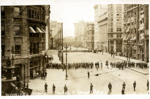 Special police and militia on Bloody Saturday at Portage and Main. Winnipeg Tribune Photograph Collection. UMASC.