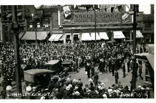 Crowd of people on Portage & Main during the June 10 Riot. Winnipeg Tribune Photograph Collection. UMASC.