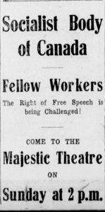 An advertisement for the January 26, 1919 Majestic Theatre meeting. Winnipeg Tribune, January 25, 1919. UML.