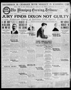 Jury finds Dixon not guilty. Winnipeg Tribune, February 16, 1920. UML.