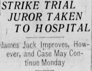 Juror contracts Spanish Flu. Winnipeg Tribune, March 10, 1920. UML.