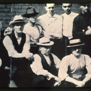 Eight of the ten strike leaders at the Vaughan Street Gaol.  WCPI A0018-523. UWA.