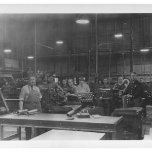 Interior of Dominion Bridge. Co. plant showing employees at various workstations, 1940. Source: City of Winnipeg Archives. Photograph Collection . Reference number: P9 File 36.