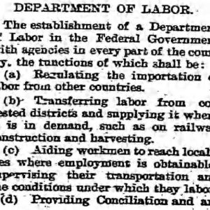 Establishment of the Department of Labor. The Voice, January 12, 1900. UML.
