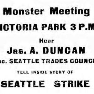 Victoria Park meeting announcement. Western Labor News, June 4, 1919. UML.