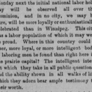 Article about the first Labour Day. Winnipeg Tribune, September 1, 1894. UML.