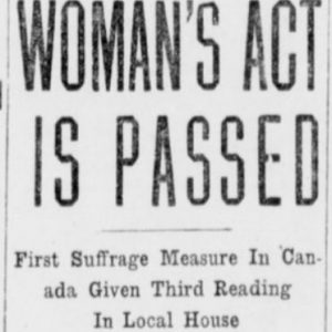 Women get the vote in Manitoba. Winnipeg Tribune, January 27, 1916.