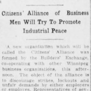 Article on the formation of the Citizens' Alliance. Winnipeg Tribune, July 27, 1917. UML.