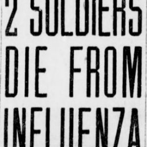 Two first reported Influenza deaths in Manitoba. Winnipeg Tribune, October 7, 1918. UML.