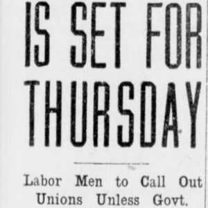 General strike planned in Winnipeg for October 24, 1918. Winnipeg Tribune, October 21, 1918. UML.