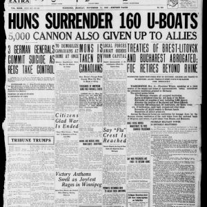 Frontpage on Armistice day. Winnipeg Tribune, November 11, 1918. UML.