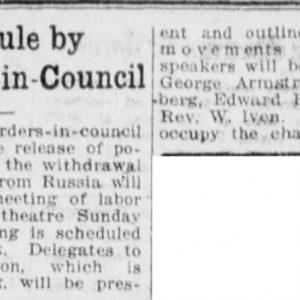 Article on the upcoming Walker Theatre meeting. Winnipeg Tribune, December 20, 1918. UML.