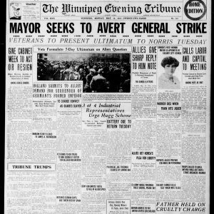 """Mayor seeks to avert General Strike"". Winnipeg Tribune, May 11, 1919. UML."