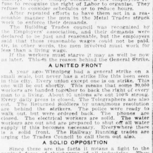 Article reprinted from Western Labor News (May 17, 1919) on the cause of the strike. Winnipeg Tribune, November 24, 1919. UML.