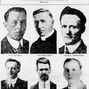 Article in the Winnipeg Tribune featuring photos of six strike leaders to be tried: R.B. Russell, William Ivens, George Armstrong, A.A. Heaps, R.E. Bray and John Queen. Source: University of Manitoba Libraries.