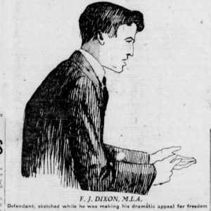 "A trial sketch of Fred Dixon. The caption states that the sketch was done while Dixon ""was making his dramatic appeal for freedom."" Winnipeg Tribune, February 16, 1920. Source: University of Manitoba Libraries."
