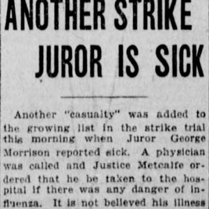 A second juror - George Morrison - falls ill during the strike trial. Winnipeg Tribune, March 13, 1920. Source: University of Manitoba Libraries.