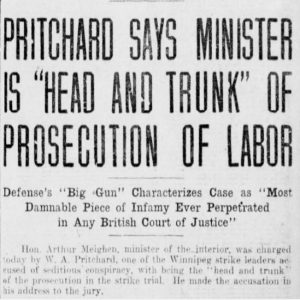 A Winnipeg Tribune article from March 23, 1920, describing the strike trial, when W.A, Pritchard accused Minister Meighen of heading the prosecution. Source: University of Manitoba Libraries.