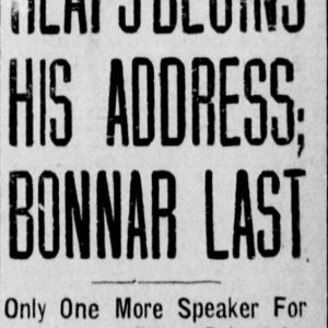 "Winnipeg Tribune headline from March 25, 1920 which reads: ""Heaps begins his address; Bonnar last. Only one more speaker for defense, then rebuttal and judge's charge."" Source: University of Manitoba Libraries."