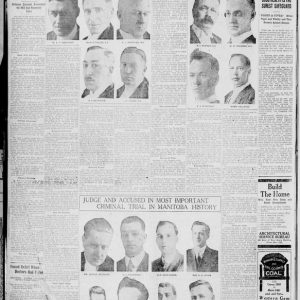 The page of a Winnipeg Tribune newspaper, with images of the strike leaders, judge, defense counsel, and prosecution. Winnipeg Tribune, March 27, 1920. Source: University of Manitoba Libraries.