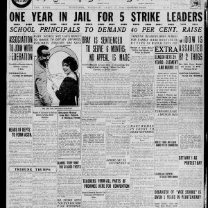 "The front page of the Winnipeg Tribune on April 6, 1920. The headline reads: ""One Year in Jail for 5 Strike Leaders."" Source: University of Manitoba Libraries."