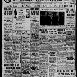 "The front page of the Winnipeg Tribune on December 11, 1920. The top headline reads: ""Russell's Release from Penitentiary Ordered."" Source: University of Manitoba Libraries."
