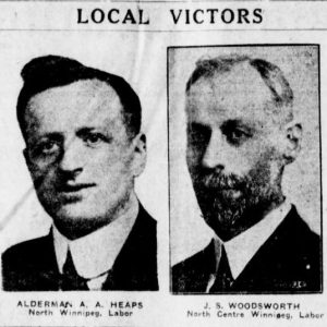 "A newspaper clipping showing photographs of A.A. Heaps and J.S. Woodsworth following the 1925 Federal election. The headline reads: ""Local Victors"". Winnipeg Tribune, October 30, 1925. Source: University of Manitoba Libraries."
