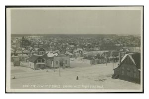 St. James, looking west from fire hall. COWA. Martin Berman Postcard Collection (vol. 4D).