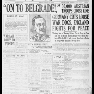 Front page of the Winnipeg Tribune at the start of WWI. July 28, 1914. UML.