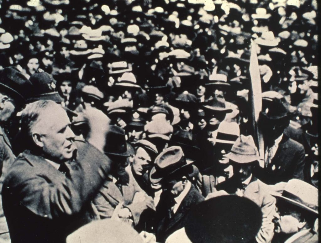Premier Norris addressing a large crowd of anti-strike veterans. Source: University of Winnipeg Archives.