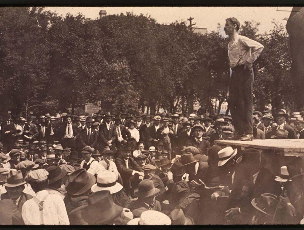 R.E. Bray addressing crowd during Winnipeg General Strike of 1919.